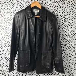 Black lamb leather jacket